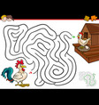 cartoon maze activity with rooster and hen vector image vector image
