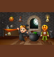 cartoon of little witch and pumpkin mask vector image vector image