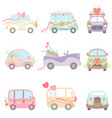 collection cute vintage cars and vans decorated vector image vector image