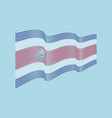 costa rica flag on blue background wave st vector image vector image