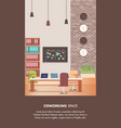 creative workplace with office furniture design vector image
