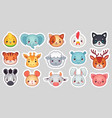 cute animal stickers smiling adorable animals vector image vector image