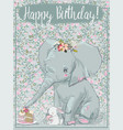cute elephant with little hare vector image vector image