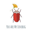 cute hand drawn bug sticker or post card vector image vector image