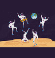dj and astronaut characters dancing with turntable vector image