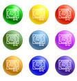 finance diploma icons set vector image