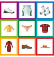 flat icon dress set of banyan sneakers foot vector image vector image