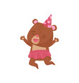 funny girl bear in jumping action happy humanized vector image