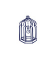 hand drawn lantern with lightbulb isolated vector image vector image