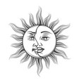 hand drawn sun and moon occult symbol vector image vector image