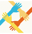 hands teamwork connecting concept vector image