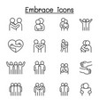 hug icon set in thin line style vector image