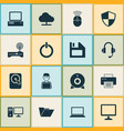 laptop icons set collection of router hdd vector image vector image