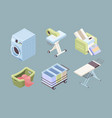 laundry isometric fabric bubbles clean service vector image