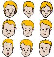 little boy emotion cartoon collection vector image