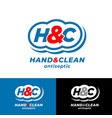 logo hand clean h and c monogram antiseptic vector image vector image