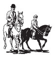 man and boy riding horses vintage vector image vector image