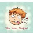 Man face biting tongue vector image vector image