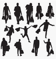 man with shopping bag silhouettes vector image vector image