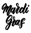 mardi gras lettering phrase isolated on white vector image vector image