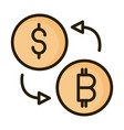 money dollar bitcoin exchange financial business vector image