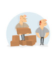 movers load boxes cartoon character vector image