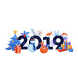 new 2019 year horizontal banner with various vector image