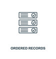 ordered records outline icon monochrome style vector image