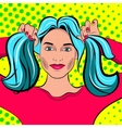Pop Art Woman with pigtails vector image