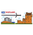 scotland travel destination promo poster with vector image vector image