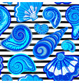 seamless pattern of seashells on striped vector image vector image