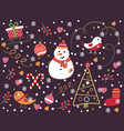 seamless pattern with snowflakes snowman vector image