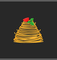 serving spaghetti dish with cherry tomato and vector image