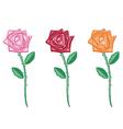 set beautiful colour flowers vector image vector image