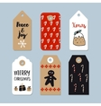 set cute christmas gift tags labels hand vector image vector image