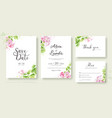 set floral wedding invitation card template vector image