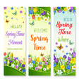 spring flowers banners with greeting quotes vector image vector image