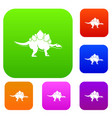 stegosaurus dinosaur set color collection vector image vector image