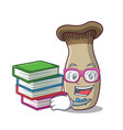 student with book king trumpet mushroom mascot vector image