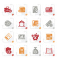 stylized financial banking and money icons vector image vector image