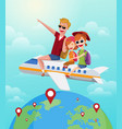 summer journey travel concept happy family rides vector image