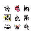 typography slogan with girl power text grl pwr vector image