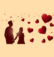 valentines day background with silhouette couple vector image vector image