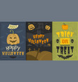 set of happy halloween greeting card vector image
