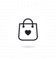 bag shopping icon with heart symbol vector image vector image