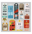 baggage tag set on grey background vector image vector image