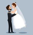 beautiful young bride and groom couple holding vector image vector image