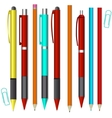 Big set of colored engineering and office pens and vector image vector image