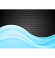 Blue abstract smooth waves on black vector image vector image