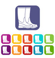 boots icons set vector image vector image